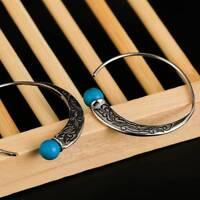 Retro Jewelry Dangle 925 Silver Turquoise Capricorn Hoop Earrings Stud Ear