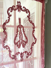 Hamptons Vintage Pink Rose Velvet and Lace Window Curtain Panel Drape Drapery Nw