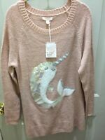New!Never Worn!Lauren Conrad Narwhal Pink Tunic Sweater Size L Great 4 Holidays!