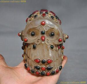 Tibet Buddhism Natural crystal Inlay gem Skeleton Devil Skull death-head Statue