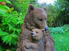 More details for large brown bear, mother and cub, realistic home & garden ornament. vivid arts.