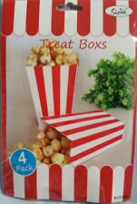 BRAND NEW RED & WHITE STRIPED POPCORN TREAT FAVOUR BOXES 4 PACK