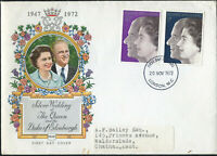 First Day Cover: Nov 1972 Silver Wedding of Queen Elizabeth II: Illustrated