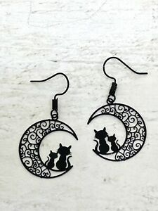 Black Cats Sitting On Crescent Moon Earrings Goth Kitsch New Age Pagan Celes