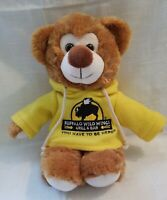 "Buffalo Wild Wings Plush Teddy Bear Wearing Yellow Hoodie *RARE* 14"" Clean"