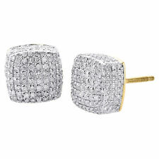 Diamond 3D Cube Studs Mens 10K Yellow Gold Round Pave Square Earrings 1.25 Ct.