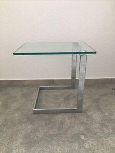 Ronald Schmitt Beistelltisch Level 45 Couchtisch Chrom Glas Top (S0431)