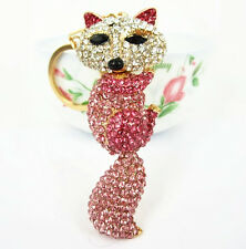 Fox Long Tail Lovely Pendent Charm Pink Purse Bag Crystal Key Chain Accesories