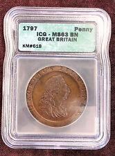 "Great Britain Penny, 1797- ICG graded MS-63 BN- ""Cartwheel"" Penny"