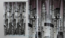 "Modern Cityscape Urban High-Rise Night Sky Shower Curtain, Size: 72""x70"" - NEW"