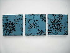 3 MODERN BLUE GREEN TEAL AQUA JADE BLACK FLORAL FLOWER SATIN PEARL WALLHANGINGS