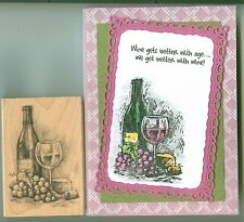 Inkadinkado rubber stamp Wine & Cheese wood mounted, Grapes, Glass