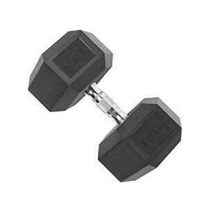 CAP Barbell Coated Hex Dumbbell with Contoured Chrome Handle, Single, 15 Pounds