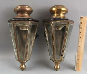 RARE! Pair Early 20thC Antique Brass Era, ELECTRIC CAR Sconce Lanterns, NR