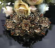 ANtique Gold Tone Rhinestone Brown color metal Hair Clip Barrette 980117
