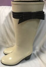 Kate Spade Tall Rain Boots Bow Size 7 CHIC