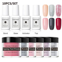 10Pcs/Set NICOLE DIARY Dipping Powder Nail Art Dip System Liquid Starter Kit DIY