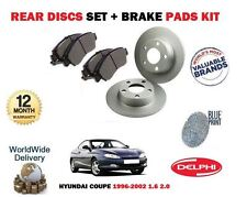 FOR HYUNDAI COUPE 1.6 2.0 F2 EVO 1996-2002 NEW REAR BRAKE DISCS SET + PADS KIT