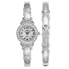 Elgin Women's XO Watch And Bracelet Bangle Set, Silver tone EG9020