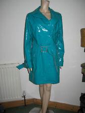 VERA MODA POCH PVC 60s 70s Stile Vintage Cappotto Giacca Pioggia MAC TRINCEA TURCHESE LUCIDO M