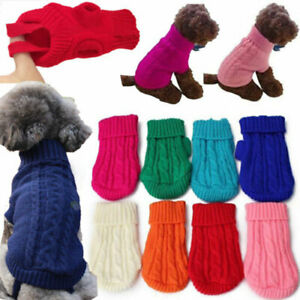 Popular Pet Cat Dog Knitted Jumper Winter Sweater Warm Coat Puppy Clothes 4-12 F