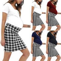 Ladies Maternity Plaid Short Sleeve Pregnant Pregnancy Summer Casual Mini Dress