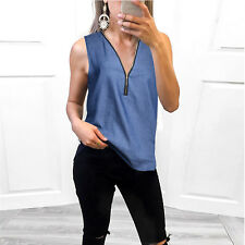 Womens Sleeveless Denim Jeans Ladies Casual Zipper Tank Tops Blouse Vest T-Shirt