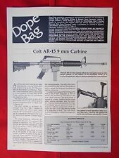 Vintage 1985 2 page art. 116 Colt AR-15 9mm Carbine