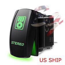LED Waterproof Green ROCKER SWITCH LASER ETCHED 12v 20a Stereo LIGHT CAR Marine