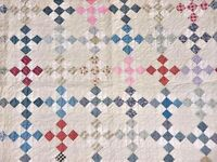 MULTICOLORED 9 PATCH ANTIQUE QUILT w TICKING FRAME c 1920s
