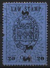 Canada Revenue VanDam # SL3 20c black on blue Saskatchewan Law Stamp 1st printin