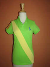 New Ralph Lauren Golf Womens Size S Lime Green Sash Stripe Big Pony Polo Shirt