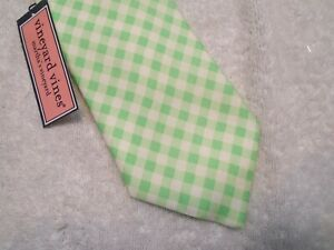 vineyard vines Green Gingham Check Pattern 100% Silk Tie NWT $85 Made in USA