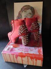 REDUCED $10  NEW W/BOX  JEFFREY CAMPBELLL SPIKE BRICK RED NUBUCK  BOOTIES  SZ 9