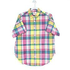 Vintage Eber San Francisco Mens Madras Plaid Button Down Shirt Pink Yellow Sz M