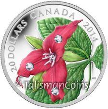 Canada 2014 Red Trillium Flower $20 Silver Proof w/ Swarovski Crystal Dewdrops