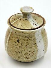 Vintage Stoneware Studio Art Pottery Brown Glaze Pot & Lid Signed Hernandez 73