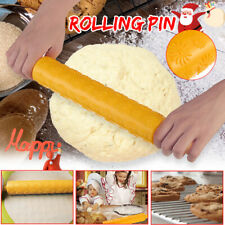 Christmas Rolling Pin Engraved Carved Flower Xmas Embossing Baking Dough Roller
