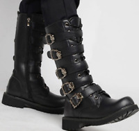Mens Round Toe Mid Calf Boots Casual Military Punk Vintage Rivet Flat Boots Shoe