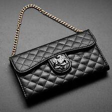 Luxury Wristlet Handbag Purse Wallet Cover Case For iPhone 6S Plus BLACK