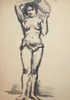 Antique impressionist ink painting nude woman portrait