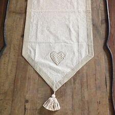 "Table Runner Cream Taupe Checks Applique Hearts Cotton 100x40cm (39.5x16"")"