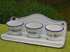 Vintage French Enamel Laundry Soap Rack ~ 3 Soap Cups - Rare