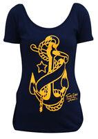NEW WOMENS Black Market Art Company ANCHOR Tee Shirt NAVY BLUE SMALL-XLARGE