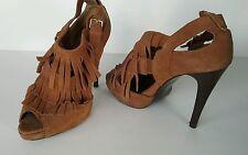High Heel Stilletos N.Y.L.A. Fergie Fringe Suede  Size 10 M Brown