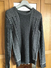 Superdry Unmarked Crew Neck Knitwear Sweater Fleece Pullover - Grey - Small