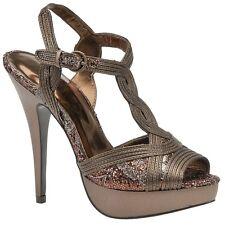 Carlos Santana VIENNA Bronze Glitter T-Strap Platform Heels, 6M - MSRP $98