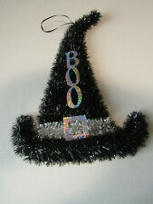 Halloween Tinsel Witch Hat Door wall Hanger New Silver BOO