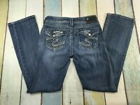 "Women's Silver Jeans Suki Flap 17"" Boot Cut Size 27 X 31 STRETCH THICK STITCH"