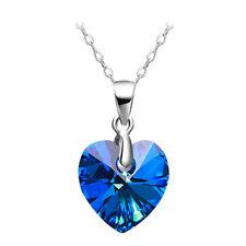 Anhänger für Halskette Herz des Ozeans echt Silber 925  Österreichische Kristall